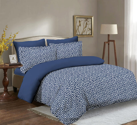 Imperial Home Printed 6-Piece Bedsheet Set - Navy/White