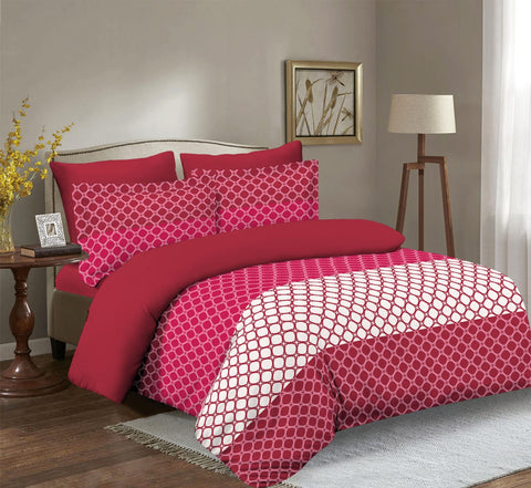 Imperial Home Printed 6-Piece Bedsheet Set - Candy Red