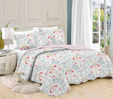 Printed 3 Piece Bed Quilt/ Bedspread/ Coverlet - Sky Blue Paisley