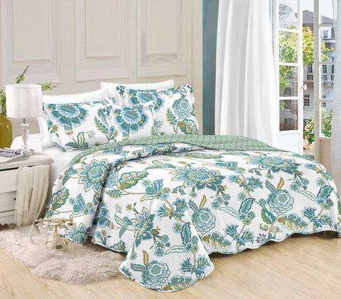 Printed 3 Piece Bed Quilt/ Bedspread/ Coverlet - Jungle Green Palmette