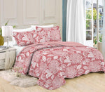 Printed 3 Piece Bed Quilt/ Bedspread/ Coverlet - Rose Pink