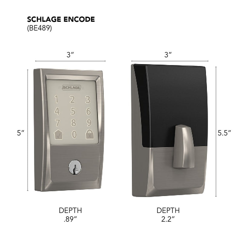 Schlage Encode BE 489 Century Trim