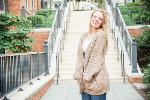 Bell Sleeve Open Cardigan with Pockets
