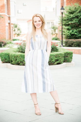 Navy-Taupe Sundress with Pockets