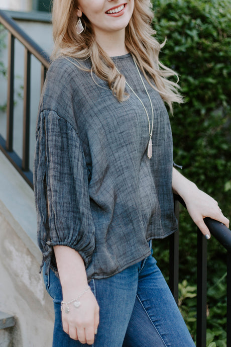 Charcoal Woven Top