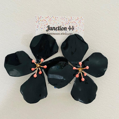 8cm hand painted black aluminium flower earrings. Junction 44.
