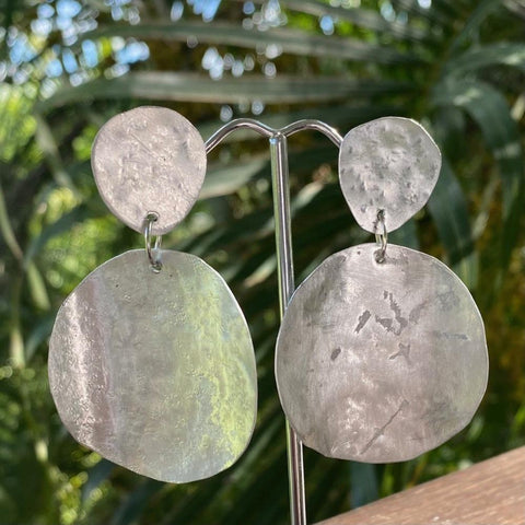 6.5cm beaten aluminium dangle disc earrings. Junction 44.