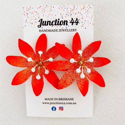 5cm handpainted aluminium orange flower earrings. Junction 44.