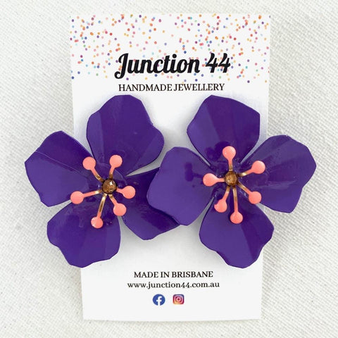 5cm handpainted aluminium purple flower earrings. Junction 44.