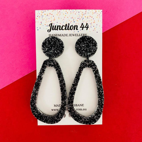 Briony Earrings - Black and Silver Sparkle - Junction 44