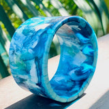 Blue and white resin swirl wide bangle. Junction 44.