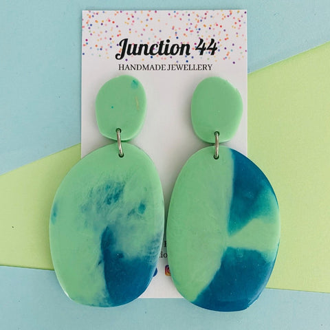 7cm handmade dangle earrings.  Mint & turquoise resin.  Junction 44.