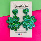 5cm resin dangle 4 leaf clover earrings in green and silver glitter. Junction 44.