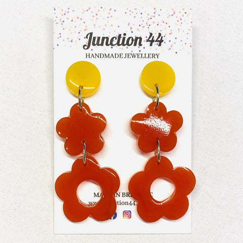 6.5cm orange and yellow resin dangles. Junction 44.