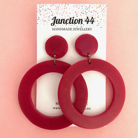6.5cm raspberry red resin hoop earrings. Junction 44.