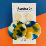 5.5cm resin dangle earrings in navy, mustard and cream. Junction 44.