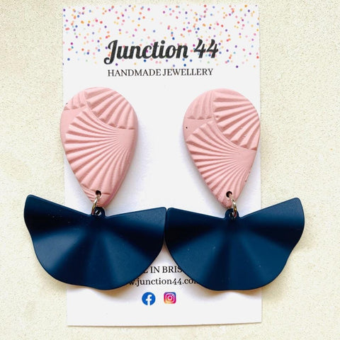 5.5cm pale pink and navy polymer clay and brass dangle earrings. Junction 44.