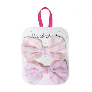 Picnic Check Bow Clips Pink