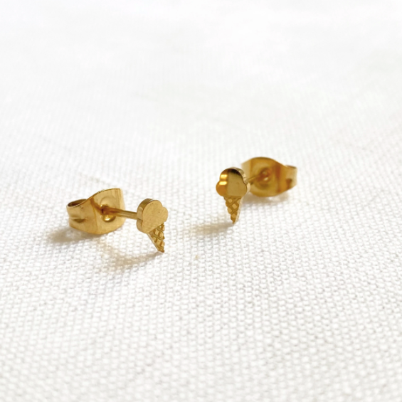 Ice Cream Earring Studs Gold