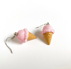 Cotton Candy Pink Ice Cream Cone Earrings
