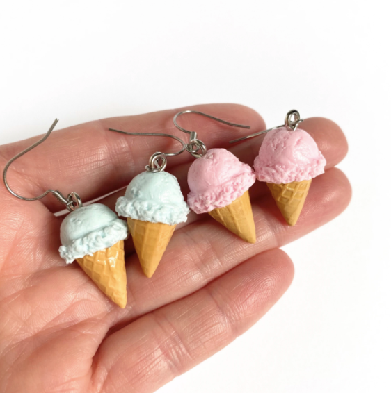 Tiffany Blue Ice Cream Cone Earrings