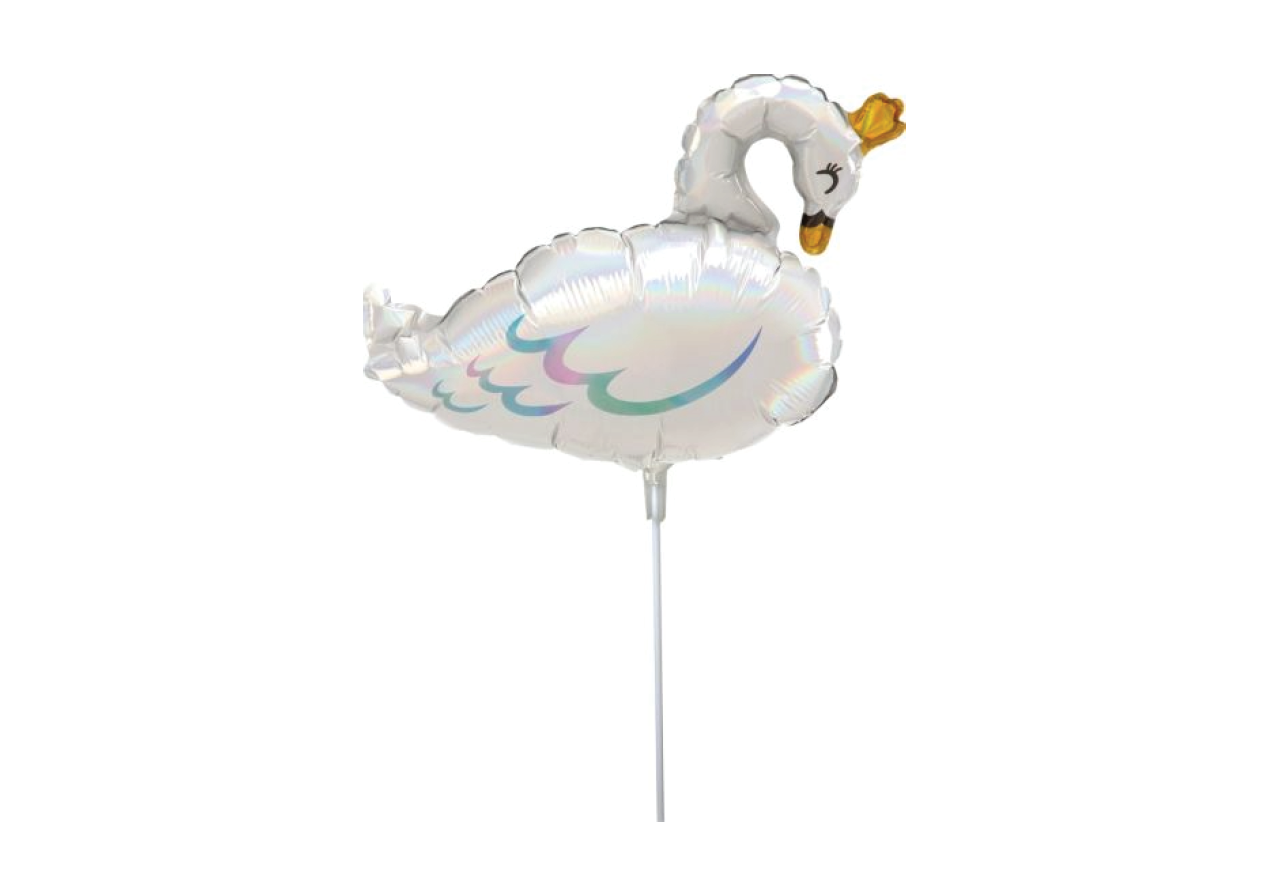 IRIDESCENT SWAN PRINCESS | MINI SHAPED FOIL BALLOON WAND