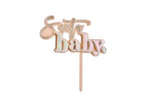 PEACHY PINK + HOLOGRAPHIC SANTA BABY | Cake Topper