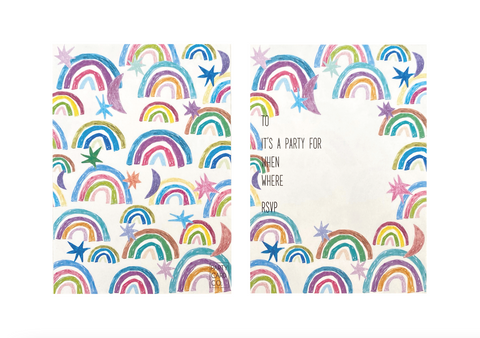 PARTY CARD CO | RAINBOW INVITES - PACK OF 10