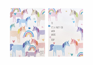 PARTY CARD CO | UNICORN INVITES - PACK OF 10