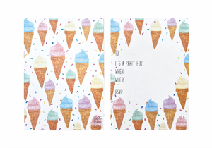 PARTY CARD CO | ICE CREAM INVITES - PACK OF 10