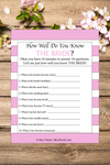 How Well Do You Know The Bride? Bridal Shower Games Printables