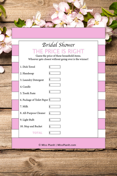 The Price is Right! Bridal Shower Games Printables