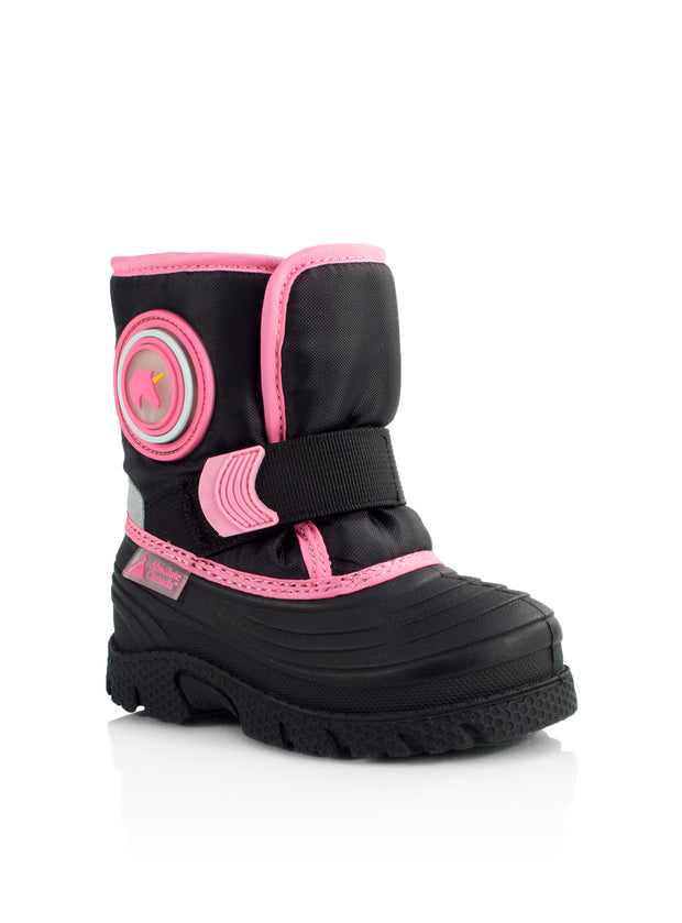 Cub pink cute girls unicorn winter boots with lights