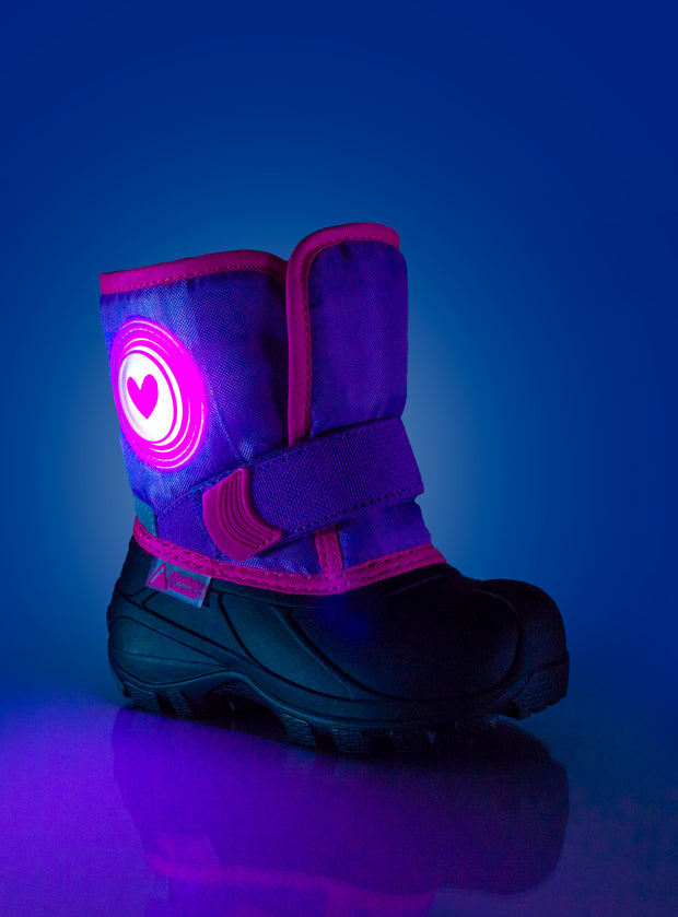 Cub 2 purple cute girls heart winter boots with lights
