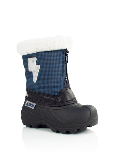 Elias navy boys cute lightning bolt winter boots with lights