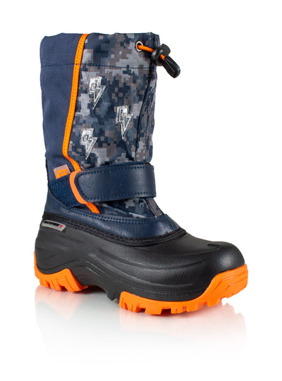 Frosty 2 navy/orange boys winter boot with lights