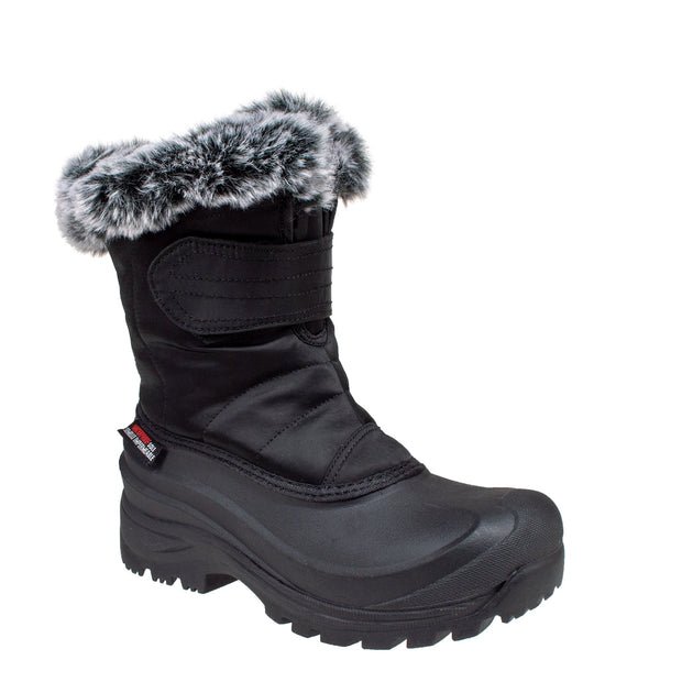 black_alternate insulated women's winter boots with fur collar