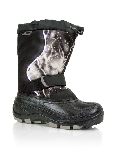 Lightbolt black kids winter boot with lights