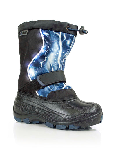 Lightbolt blue kids winter boot with lights