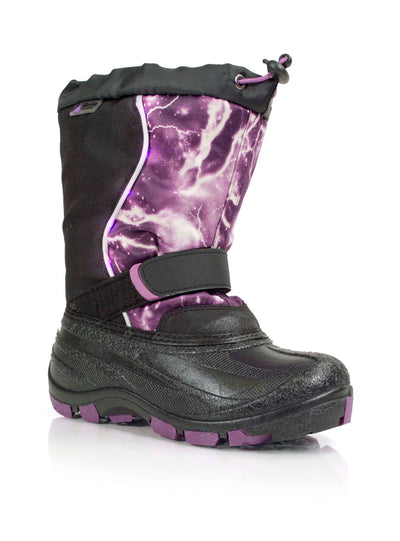 Lightbolt purple kids winter boot with lights