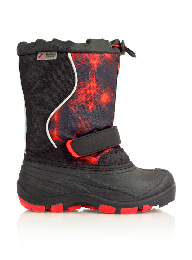 Lightbolt2 red kids winter boot with lights
