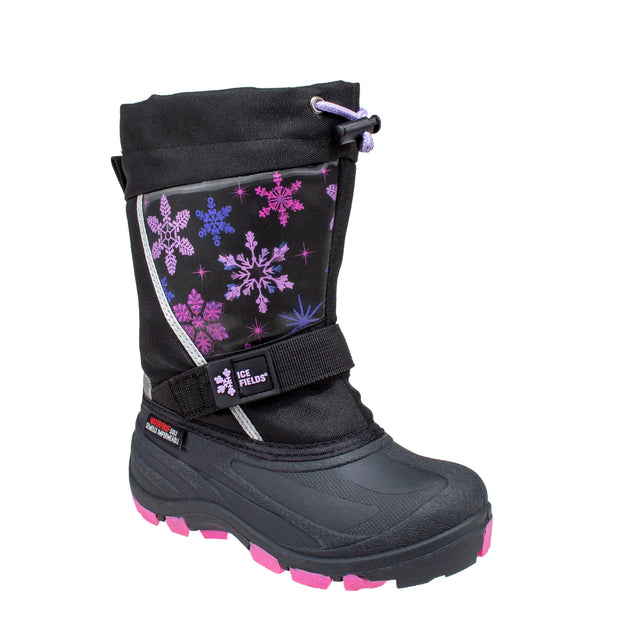 black_alternate lenticular fun light up warm kids winter boots