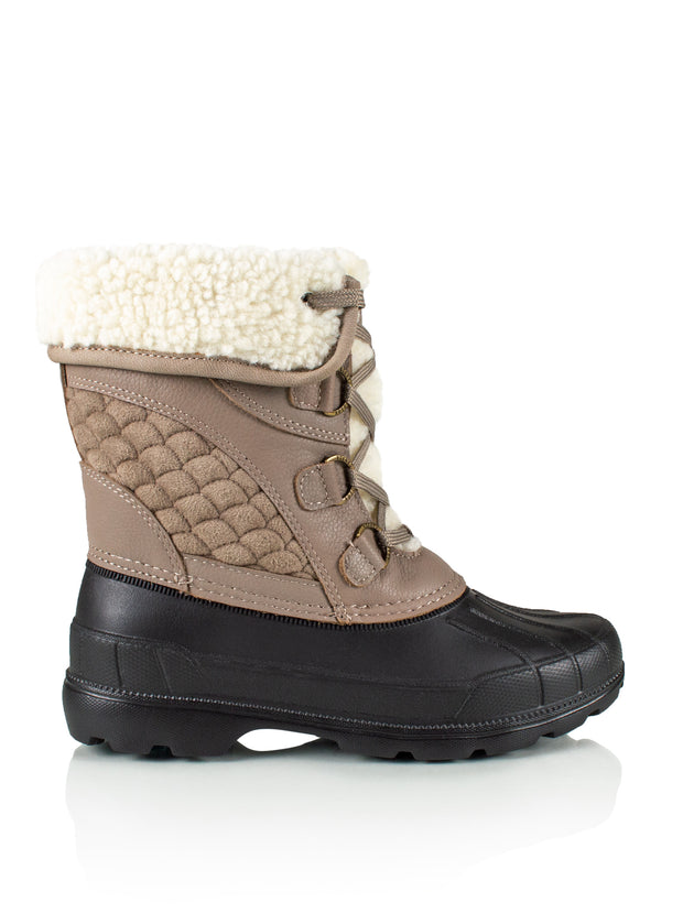 Mia taupe women's warm stylish boot with Hydrostopper anti-slip pods