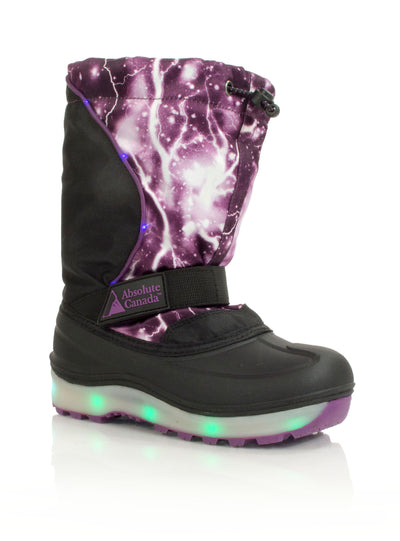 Nebula purple kids winter boot with lights