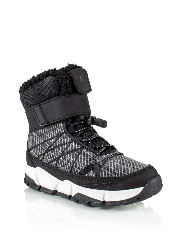 Riley black kids cool waterproof sneaker boot with lights