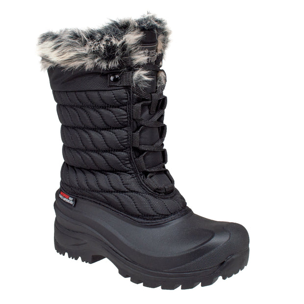 black_alternate insulated women's winter boots with faux fur collar