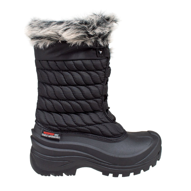 black insulated women's winter boots with faux fur collar