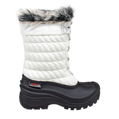 white insulated women's winter boots with faux fur collar