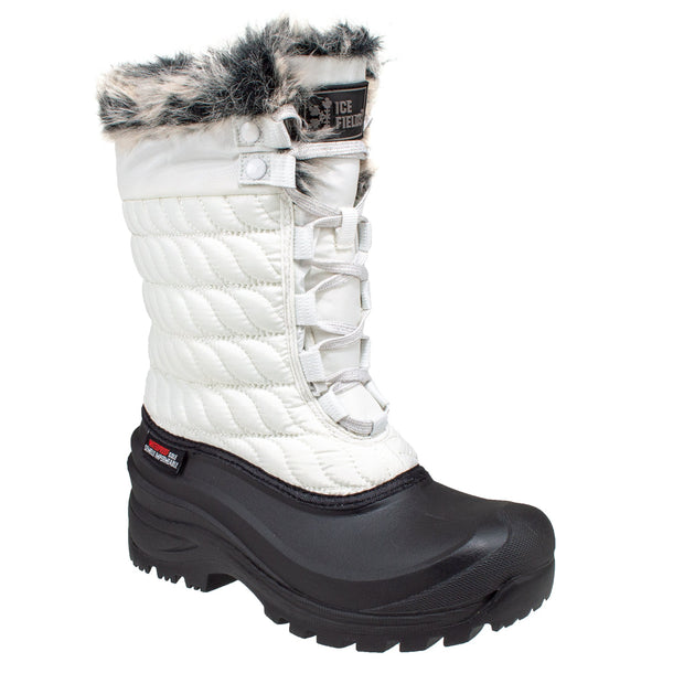 white_alternate insulated women's winter boots with faux fur collar