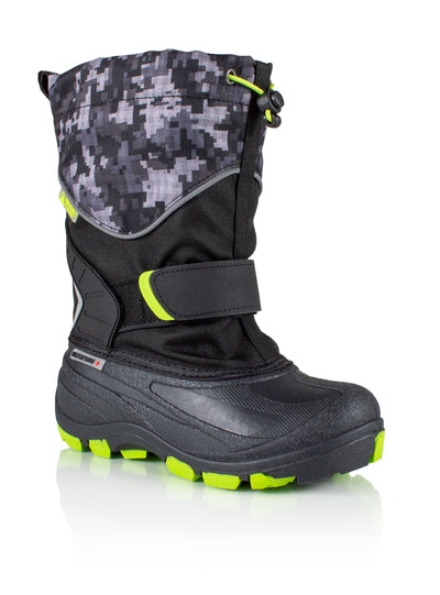 Snowblocker 2 grey lime boys warm waterproof boots